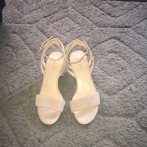 Nine West nude suede heeled sandals size 8-1/2